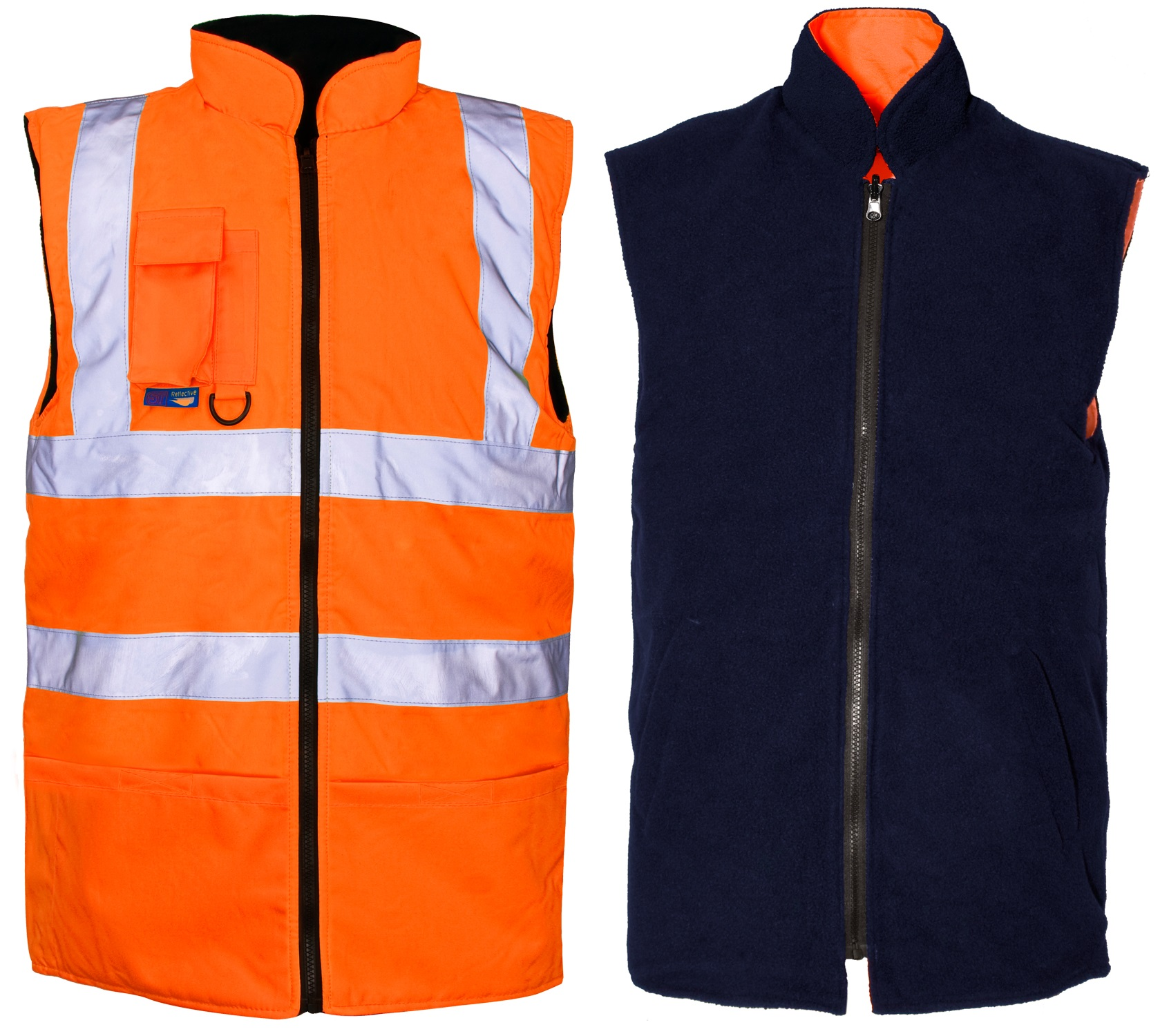 Orange Hivis Reversible Bodywarmer With Navy Fleece Lining.