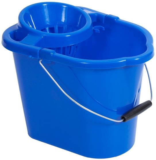 Bucket- Blue- Rectangular 12Lt Wringer (8643) Cat:11/5359