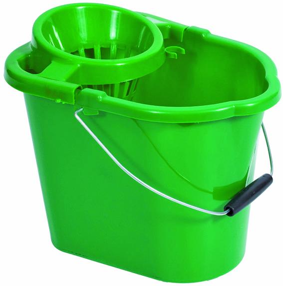 Bucket Green 12 Litre Rectangular With Wringer