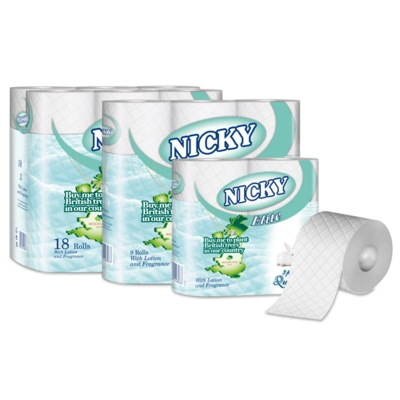 Nicky Elite 3 Ply Wht Quilted Toilet Roll (10 x 4) Per Pack