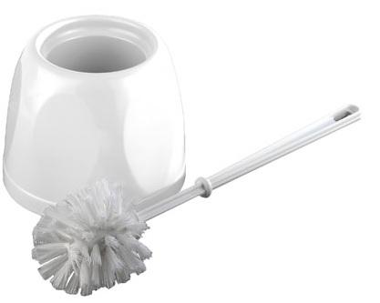 Toilet Brush Set - Plastic White Brush & Holder 5/1790