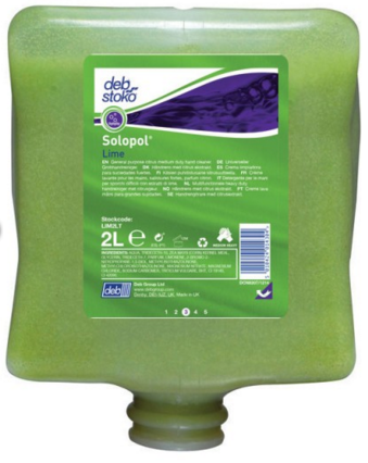 Deb Solopol Lime H/Duty Hand Cleanser 2 Litre 7/500009