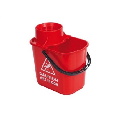 15 Litre Mop Bucket With Wringer - Red